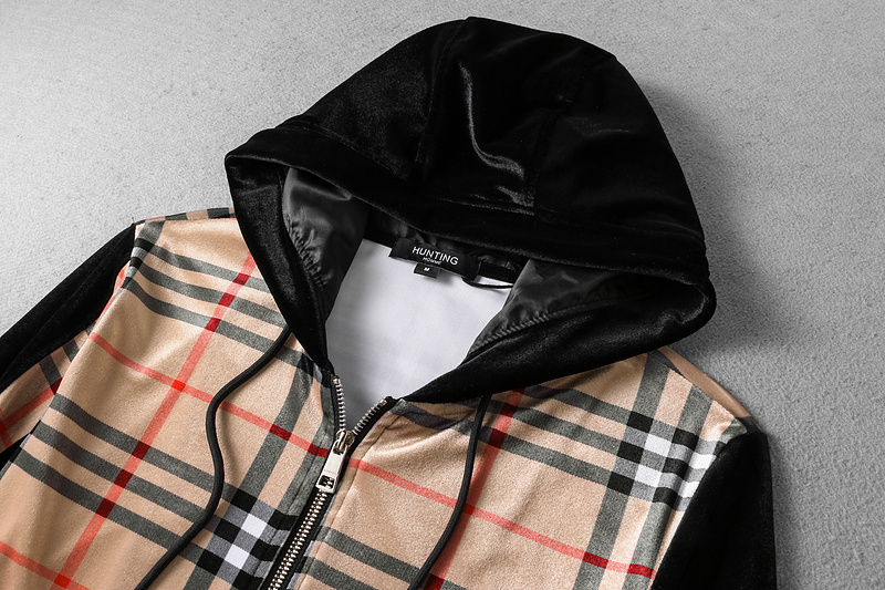 2018 populaire survetement burberry costumes jogging velvet hoodie grid