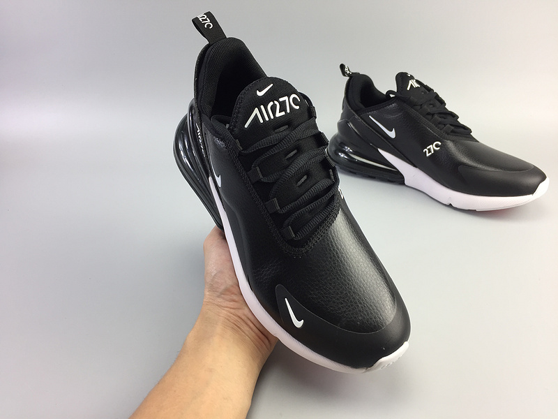 air max 270 smooth leather sport ah8050-002  black white