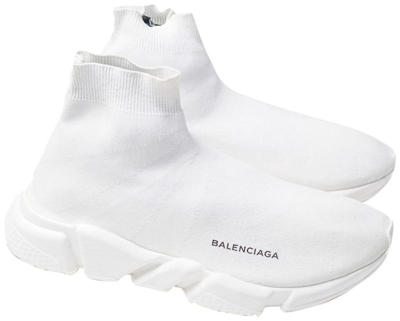 balenciaga metallic knit sock sneakers all white
