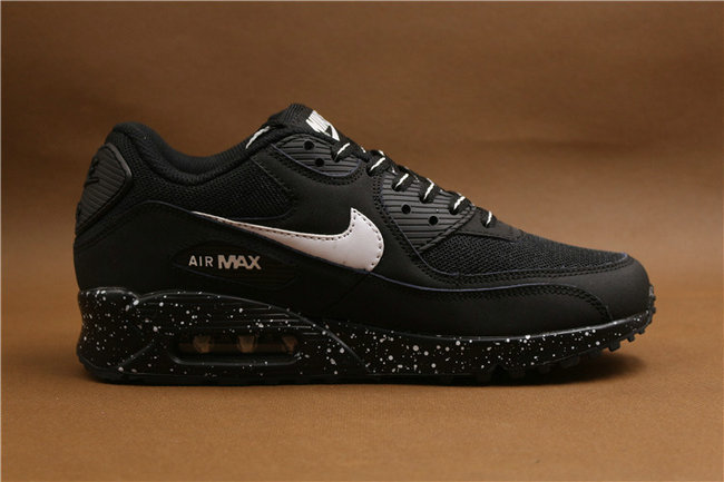baskets basses nike air max 90 mesh noir blanc peint
