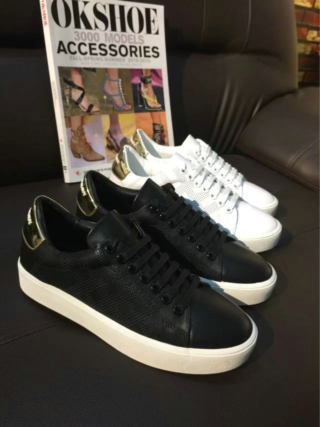 burberry femmes chaussures salmond check italy piercing leather gewen sneaker black