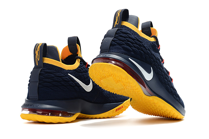 nike lebron 15 james grade school dark blue yellow
