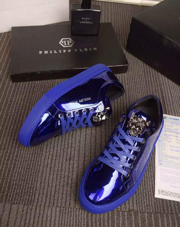 philipp plein slip on sneakers stud embossed glossy qp blue sport chaussure philipp plein. Black Bedroom Furniture Sets. Home Design Ideas