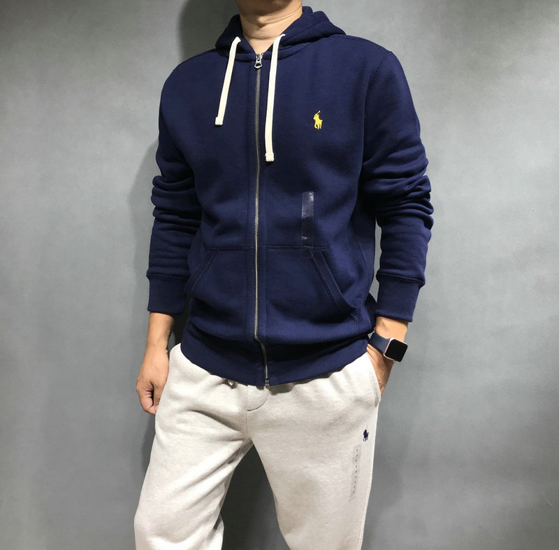 polo ralph lauren classic solid fleece hoodie jacket small polo blue