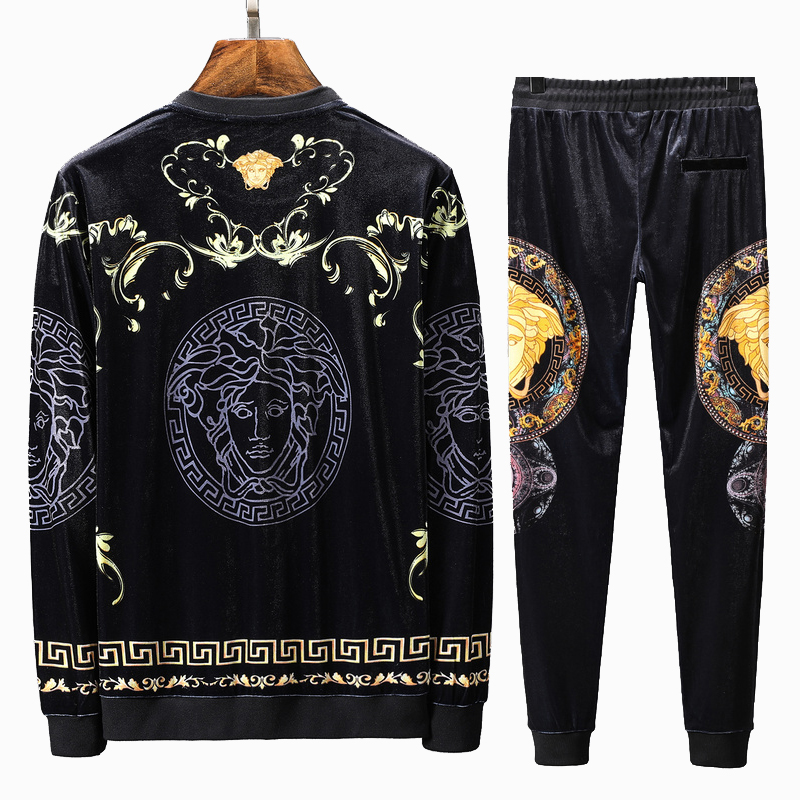 veste de jogging versace collection velours round neck