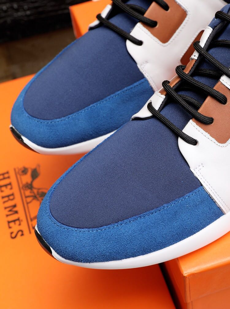 chaussure bateau hermes top layer leather stretch cloth bleu