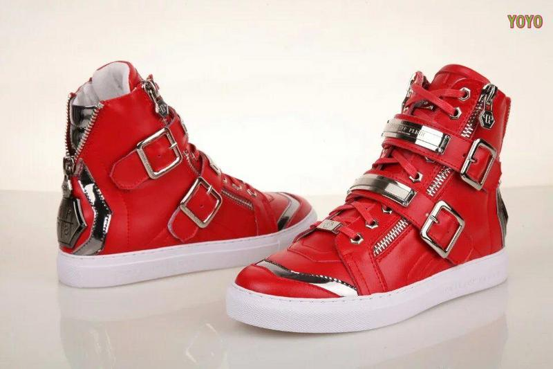 cuir philipp plein women man collections high-top red