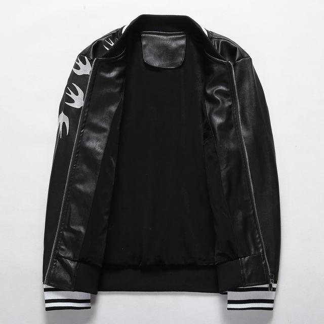 gucci embroidered leather jacket swallow fly