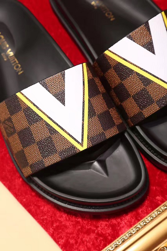 louis vuitton slippers cheap checkerboard lattice brown