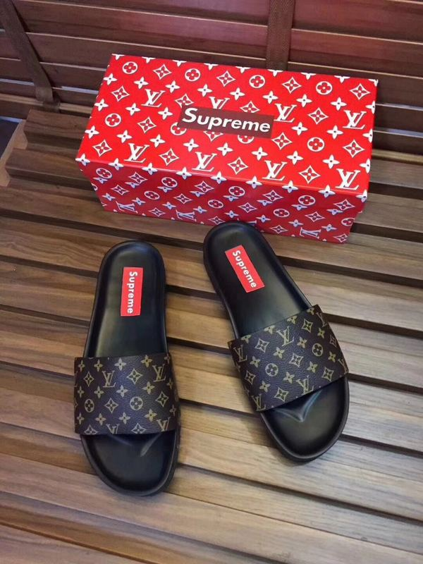louis vuitton slippers cheap classic old flower supreme brown