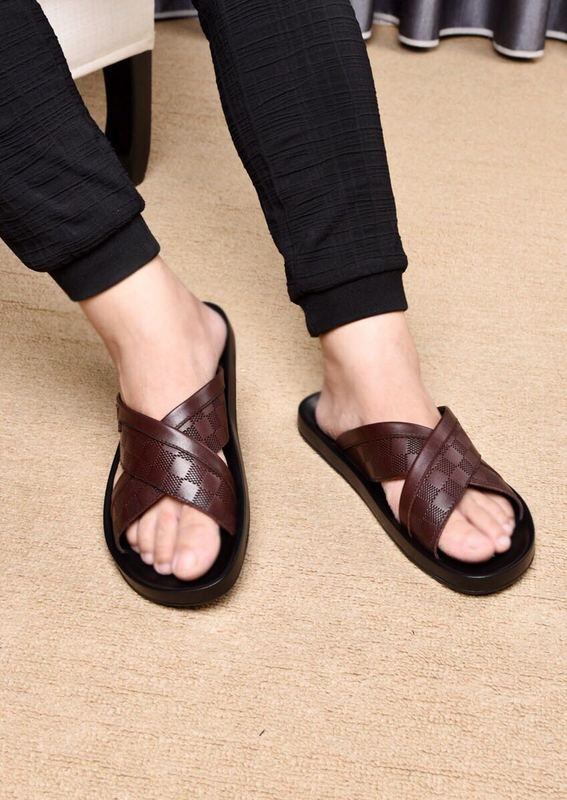 louis vuitton slippers cheap embossed cowhide brown