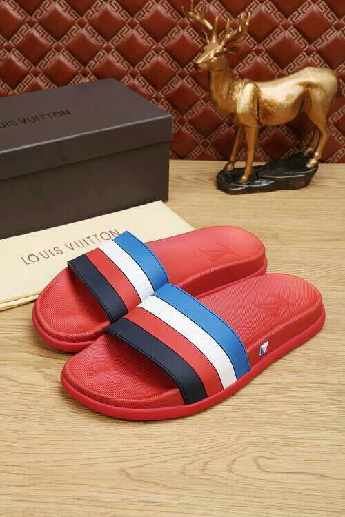 louis vuitton slippers cheap stripe red