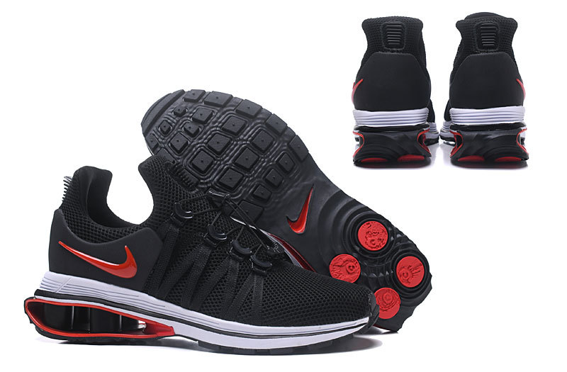 hommes nike shox gravity casual chaussures black red logo