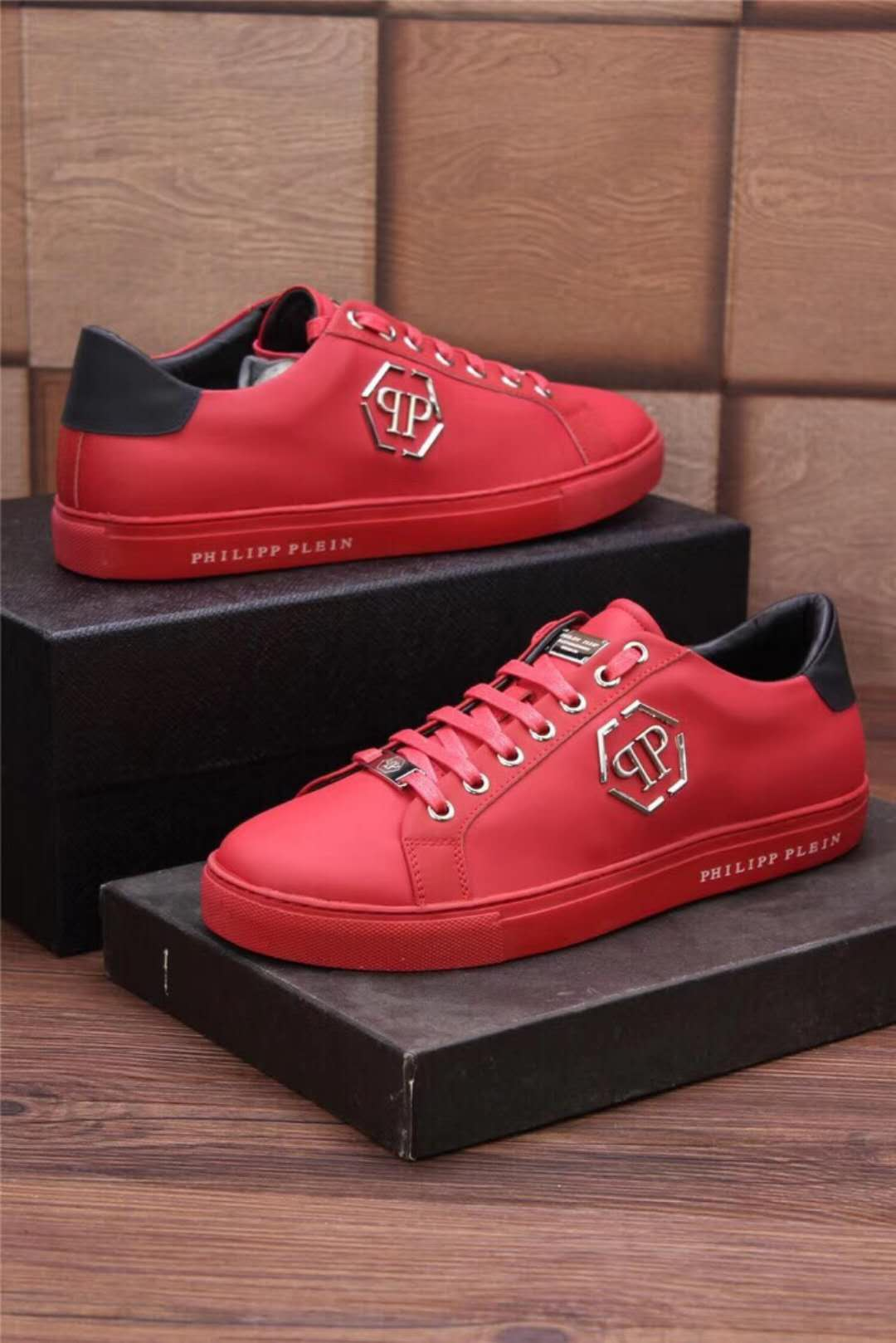 chaussures philippe mode qp leather red