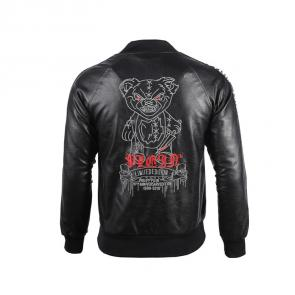 acheter philipp plein brand outdoor cuir jacket hommes teddy bear kill