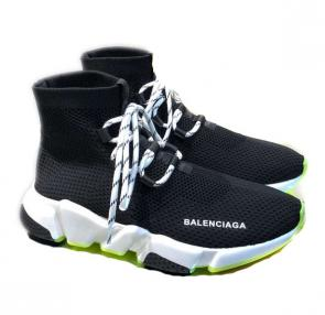 balenciaga metallic knit sock sneakers with laces black blue