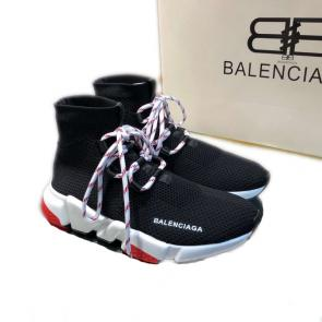 balenciaga metallic knit sock sneakers with laces black red