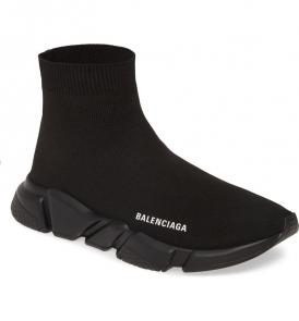 balenciaga metallic knit sock sneakers all black