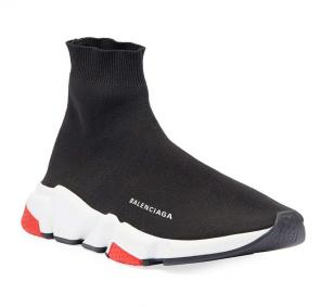 balenciaga metallic knit sock sneakers black red