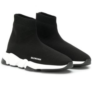 balenciaga metallic knit sock sneakers black white
