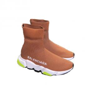 balenciaga metallic knit sock sneakers brown deep