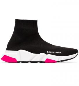 balenciaga metallic knit sock sneakers girl black pink
