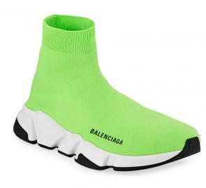 balenciaga metallic knit sock sneakers green black