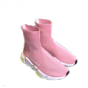 balenciaga metallic knit sock sneakers pink