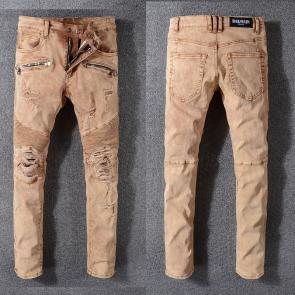 balmain ripped destroyed distressed straight jeans 999ba-122