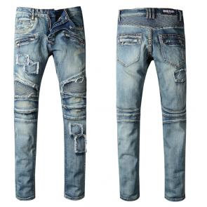 balmain ripped destroyed distressed straight jeans patches blue