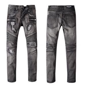 balmain ripped destroyed distressed straight jeans b1080
