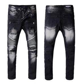 balmain ripped destroyed distressed straight jeans black white