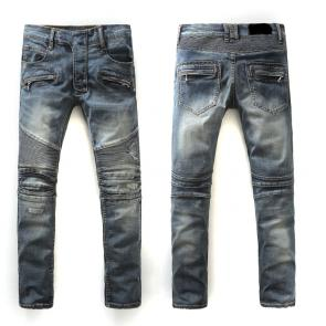 balmain ripped destroyed distressed straight jeans bm938-160