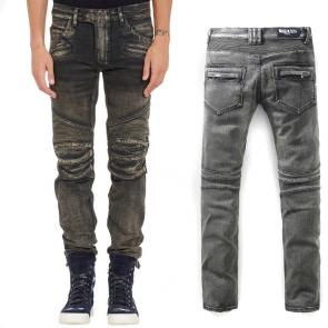 balmain ripped destroyed distressed straight jeans gris
