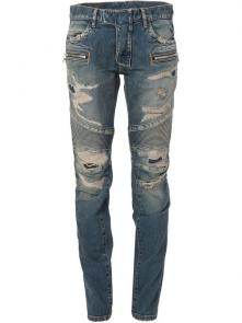 balmain ripped destroyed distressed straight jeans hole blue