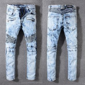 balmain ripped destroyed distressed straight jeans k998
