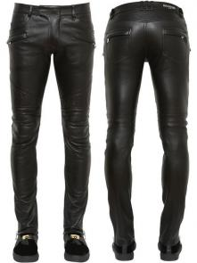 balmain ripped destroyed distressed straight jeans leather