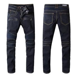 balmain ripped destroyed distressed straight jeans mode blue