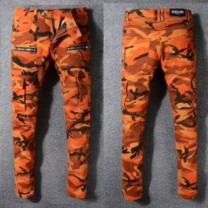 balmain ripped destroyed distressed straight jeans orange