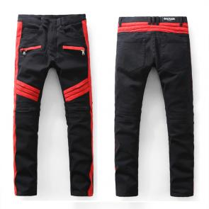 balmain ripped destroyed distressed straight jeans red black