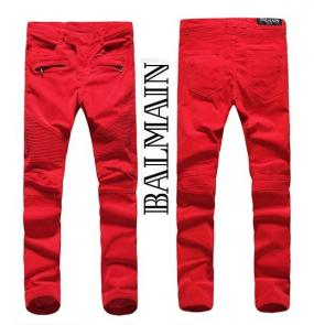 balmain ripped destroyed distressed straight jeans red