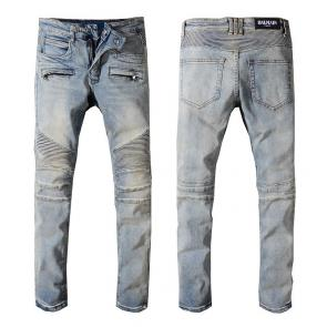 balmain ripped destroyed distressed straight jeans wash white