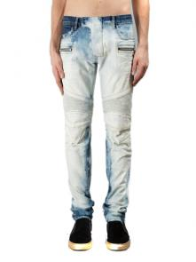 balmain ripped destroyed distressed straight jeans white blue