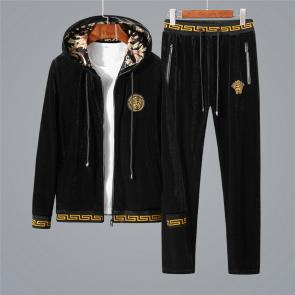 ensemble jogging versace medusa homme 2019 hooded golden velvet black