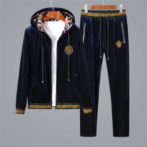 ensemble jogging versace medusa homme 2019 hooded golden velvet blue