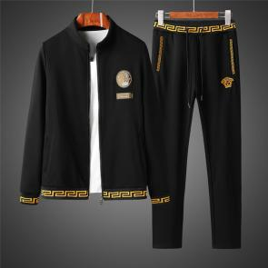 ensemble jogging versace medusa homme 2019 long sleeved trousers with elastic waist black