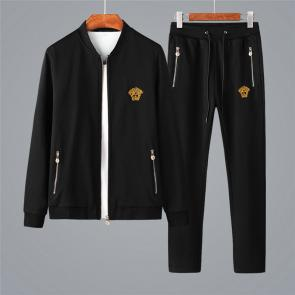 ensemble jogging versace medusa homme 2019 round collar zipper black