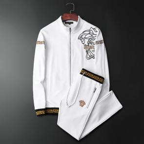 ensemble jogging versace medusa homme 2019 hf embroidery zipper white