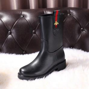gucci black womens designer boots cowhide fabric with small bees