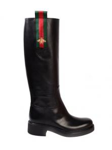 gucci black womens designer boots italy leather cow leather 435539 dkhc